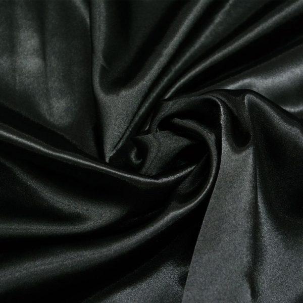 Атлас стретч тонкий, art. 8001 №17 черный. Состав 92% полиэстер, 8% эластан.