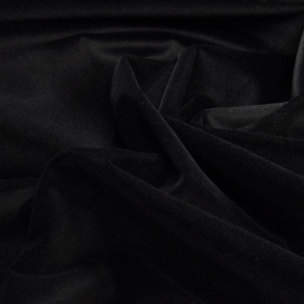 Бархат стрейч, арт. 8500 №3 черный). Состав: 92% полиэстер, 8% спандекс.